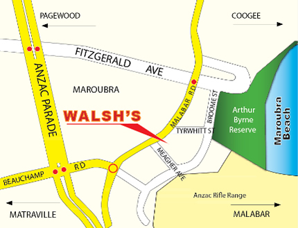 Walsh's Village Pharmacy Map